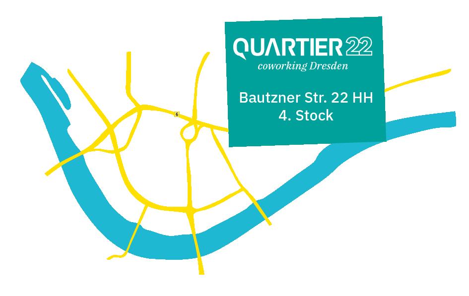 Standort des Coworking Space QUARTIER22 auf der Bautzner Str. 22 HH
